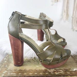 Seychelles Olive Green Leather Wood Heel